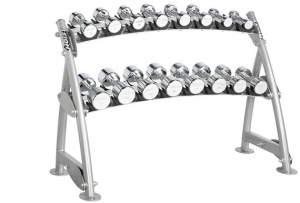 HOIST Commercial Freeweight Line 2-tier Horizontal Beauty Bell Rack (8 Pairs) CF-3462-2s